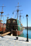 Pirate ship. A pirate ship in the Venetian Harbor of Rethymnon (Crete, Greece Royalty Free Stock Image