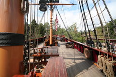 Pirate ship. Wooden pirate ship stock image
