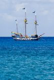 Pirate Ship. Colorful Pirate's Ship Anchored offshore in Grand Cayman stock photos