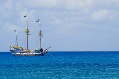 Pirate Ship. Colorful Pirate's Ship Anchored offshore in Grand Cayman. Off center for copy space stock images