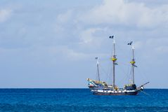 Pirate Ship. Colorful Pirate's Ship Anchored offshore in Grand Cayman. Off center for copy space royalty free stock photography