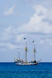 Pirate Ship. Colorful Pirate's Ship Anchored offshore in Grand Cayman. Off center for copy space on top stock photography