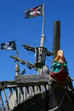Pirate ship. Pirates flag flies high in the wind royalty free stock images