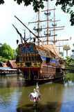 Pirate ship. The beautiful pirate shp or caravel in a theme park in europe Stock Photo