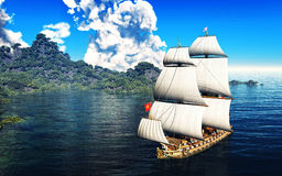 Pirate Ship And active volcano in 3d illustration Stock Image