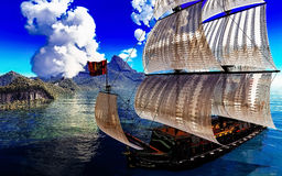 Pirate Ship And active volcano in 3d illustration Royalty Free Stock Photos