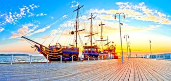 Pirate Ship on the Baltic Sea in Sopot - Poland. Pirate Ship on the Baltic Sea in Sopot at Morning Sunrise - Poland royalty free stock images