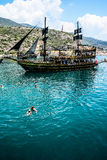 The pirate ship at the beach of Cleopatra Stock Images