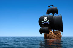 Pirate Ship In Blue Ocean Royalty Free Stock Photos