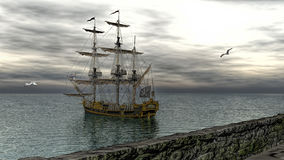 Pirate ship on calm water 3d rendering royalty free illustration