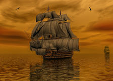 Pirate ship on calm water 3d rendering stock illustration