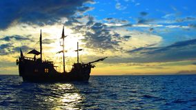 Pirate ship in the caribbean sea stock photos