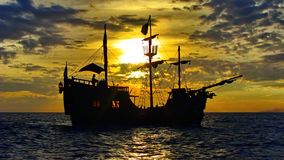 Pirate ship in the caribbean sea royalty free stock photos