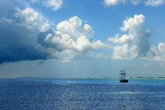 Pirate Ship on Caribbean Waters Stock Images