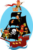 Pirate ship. Cartoon pirate ship with cute pirates and a parrot, sailing under black sails Royalty Free Stock Image