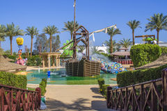 Pirate ship in cleo water park, image 1. In Cleo Aqua Park, Egypt has been built a large pirate ship where it bubbles and splashing water from all angles and stock images