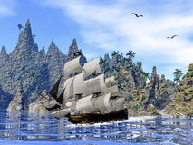 Pirate ship on the coast - 3D render. Pirate ship next to the coat by beautiful day with seagulls Royalty Free Stock Image