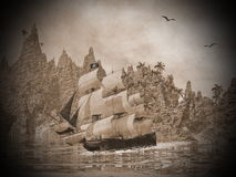Pirate ship on the coast - 3D render Royalty Free Stock Image