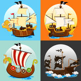 Pirate Ship Collection Set Royalty Free Stock Image