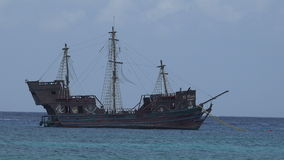 Pirate Ship in Cozumel, Mexico Harbor stock footage