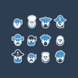Pirate ship crew avatars set Stock Photos