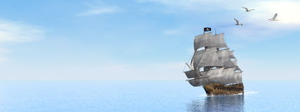 Pirate Ship - 3D render Royalty Free Stock Image