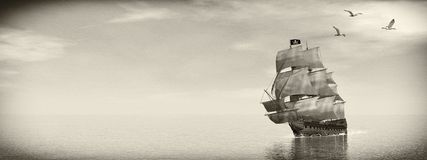 Pirate Ship - 3D render. Beautiful detailed Pirate Ship, floating on the ocean surrounded with seagulls by day, vintage style image  - 3D render Stock Photography