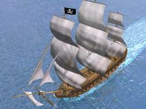 Pirate ship - 3D render Royalty Free Stock Photography