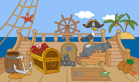 Pirate ship deck. Cartoon animated pirate ship deck vector illustration