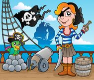 Pirate ship deck theme 8. Vector illustration Royalty Free Stock Photography
