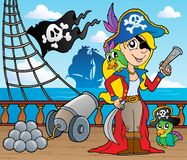 Pirate ship deck theme 9. Vector illustration Royalty Free Stock Images