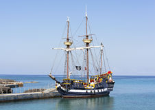 Pirate Ship. The pirate ship docked near Grand Cayman island, the popular tourist attraction in Caribbean (Cayman Islands royalty free stock image