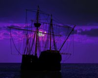 Pirate ship docking Stock Image