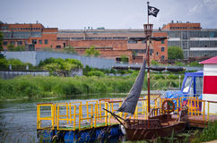 Pirate ship on the docks. Royalty Free Stock Photos