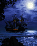 Pirate ship. Fantasy image of pirate ship and the moon vector illustration