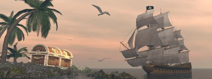 Pirate ship finding treasure - 3D render. Pirate ship holding black Jolly Roger flag floating on the ocean toward and island showing treasure box by cloudy Stock Images
