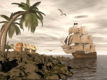 Pirate ship finding treasure - 3D render Stock Photography