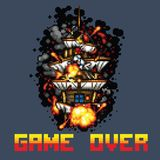 Pirate ship on fire game over message pixel art style illustration Royalty Free Stock Photo