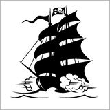 Pirate Ship, galleon, brigantine and cutter under the Jolly Roger black flag, vector illustration. Pirate Ship, galleon, brigantine and cutter under the Jolly stock illustration