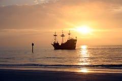 Pirate Ship. Galleon Pirate Ship Sea ocean Sunset Sail Fleet Merchant stock image