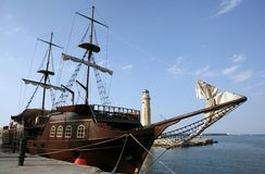 Pirate ship in harbour stock photos