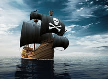 Pirate Ship On The High Seas. 3D Illustration Stock Photos
