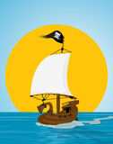 Pirate ship illustration. Illustration of a pirate ship sailing the see Royalty Free Stock Images