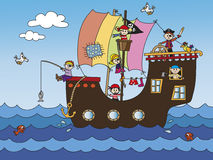 Pirate ship. Illustration of pirate ship with funny children Royalty Free Stock Photos