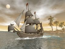 Pirate ship leaving - 3D render Royalty Free Stock Photo