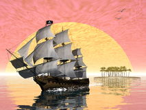 Pirate ship leaving - 3D render Royalty Free Stock Photos