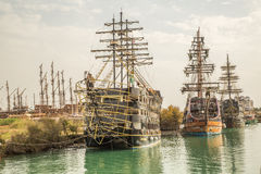 Pirate ship on line Royalty Free Stock Image