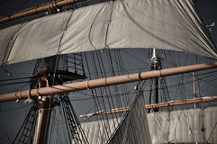 Pirate Ship Mast. Mast of a Pirate Ship setting off to sea Stock Image