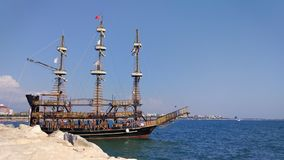 Pirate ship of the Mediterranean stock footage