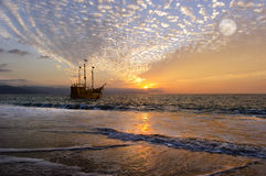 Pirate Ship Moon Royalty Free Stock Images